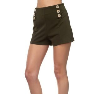 🌺3/20 High Rise Coconut Olive Button Shorts Small